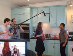 Isabel Burr and Nadine Walcott on set with our professional crew.