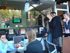 Mohammed Shaker and Elizabeth Webb on set with our professional crew.