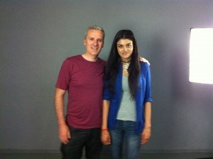 Brian with auditioning actress Ulrika at Spotlight Studios